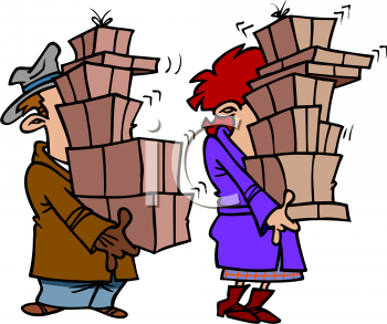Couple_Carrying_Holiday_Packages_clipart_image